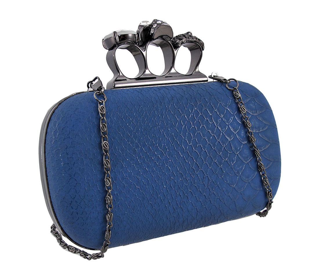 Snakeskin Knuckle Duster Clutch Purse With Rhinestone Skull Accents