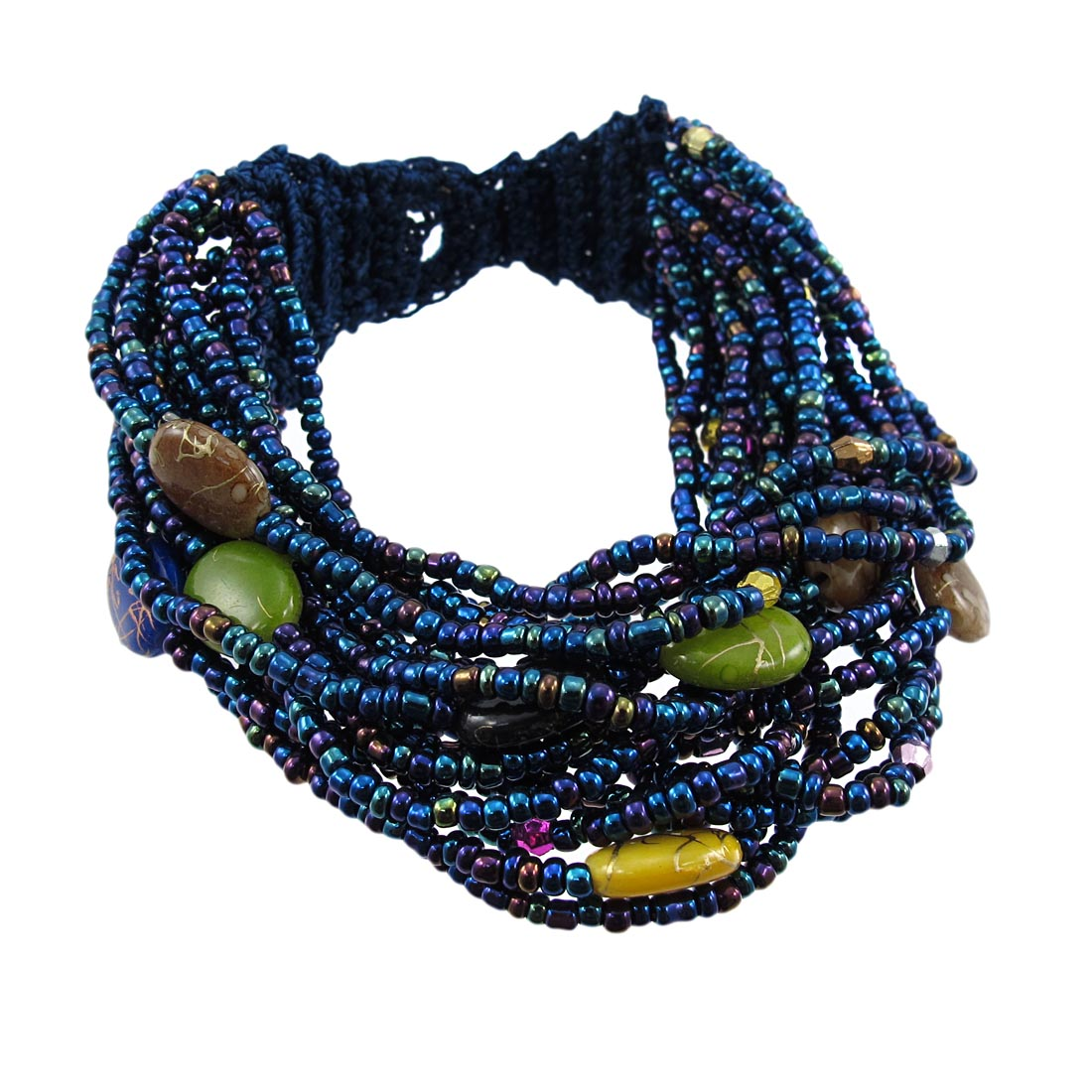 multi strand seed bead bracelet painted accents