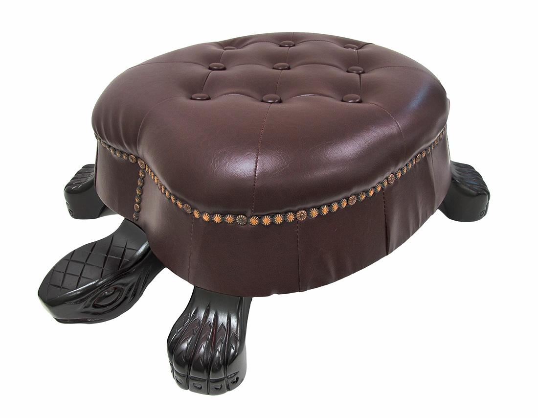 Elegant Walnut Finish Turtle Ottoman Foot Stool Ebay