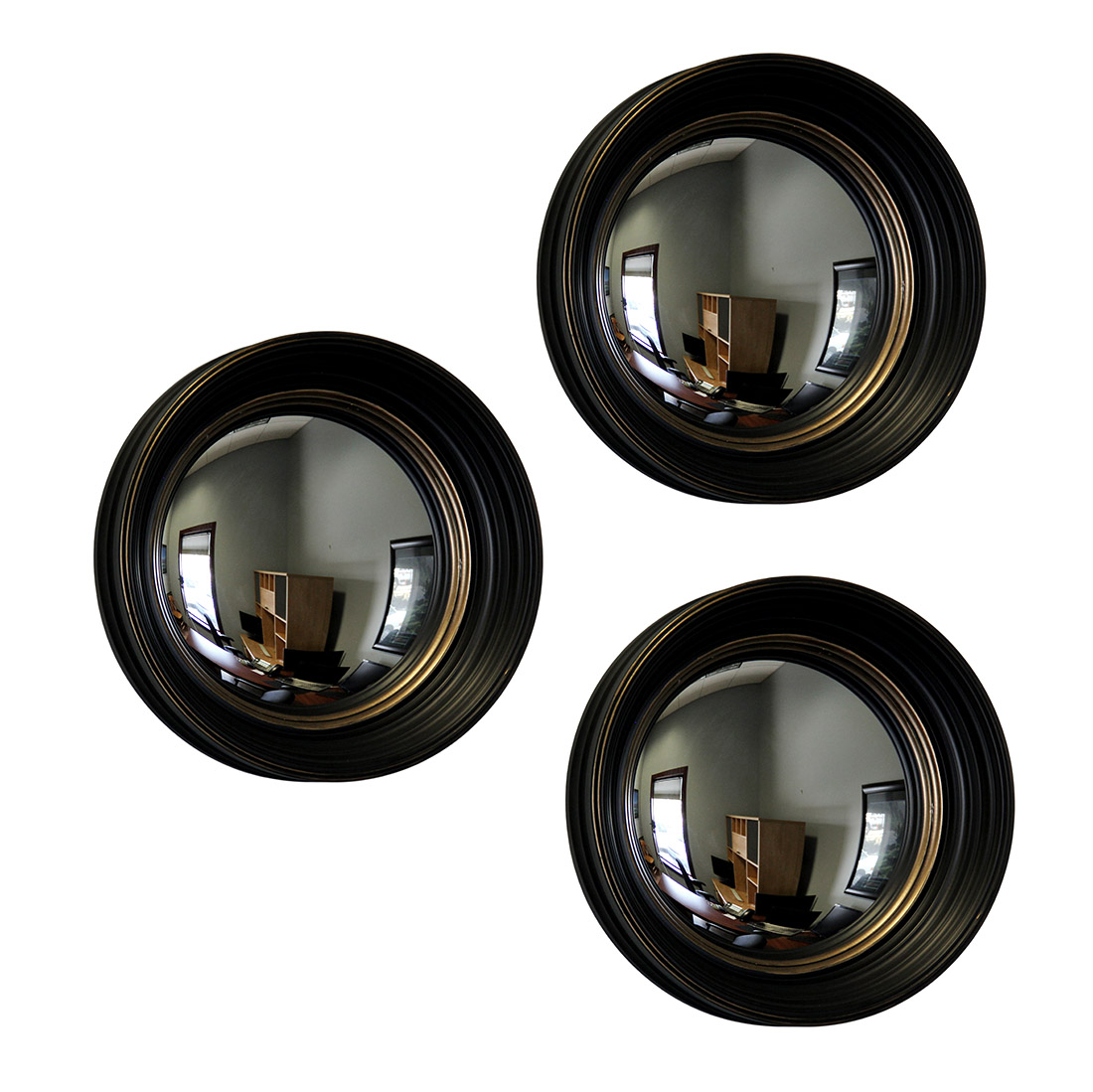 Set of 3 black and gold framed convex fish eye wall mirrors 14 in set of 3 black and gold framed convex fish eye wall mirrors 14 in zeckos amipublicfo Gallery