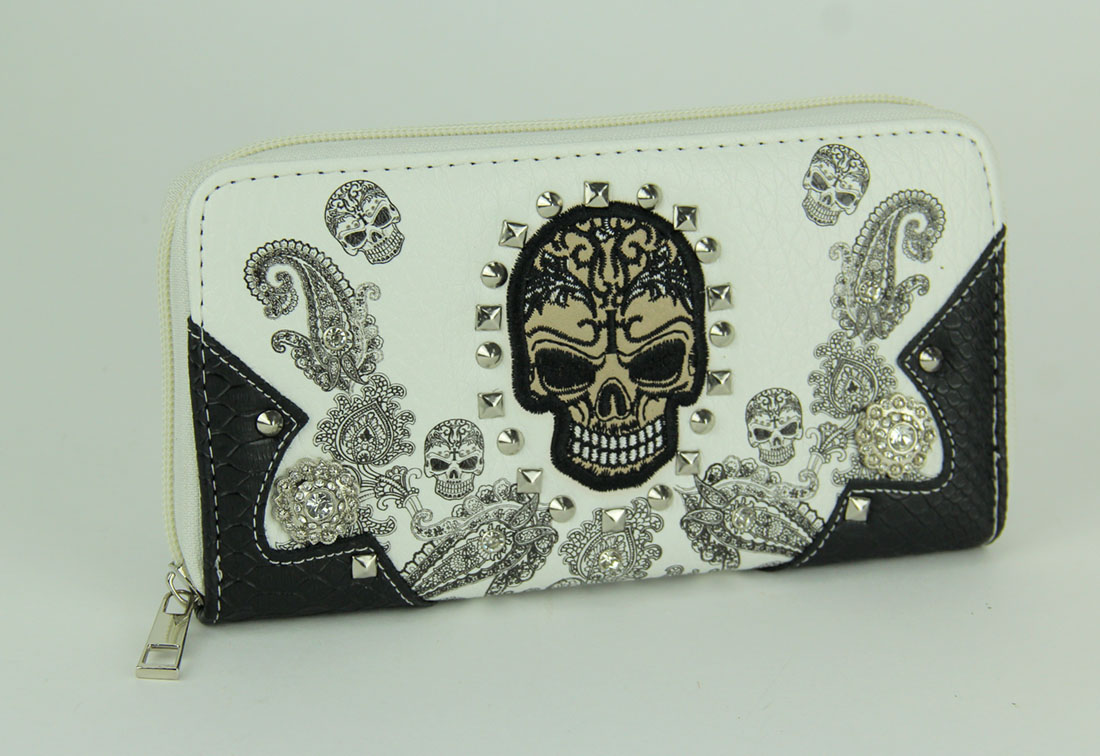 Tattooed Skulls and Paisley Sequins Purse and Wallet Set