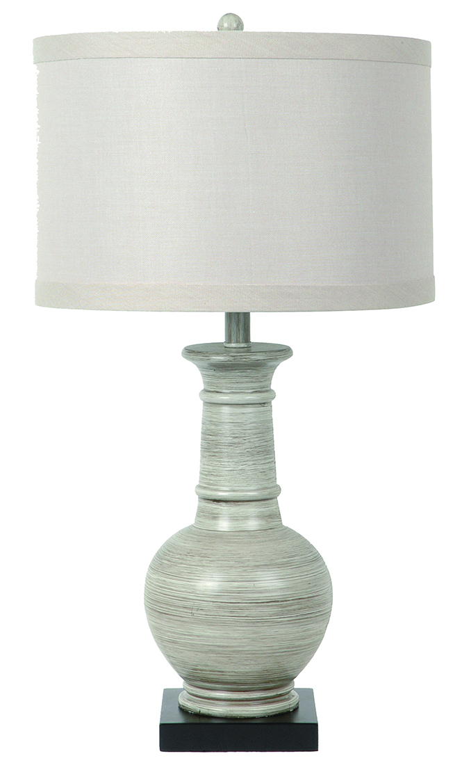 Darby Grey Washed Wood Finish Resin Table Lamp 28 Inches