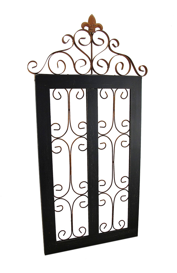 Black Gate Wall Decor : Garden gate style vintage finish wood and metal wall