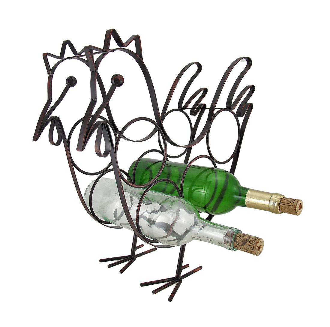 Rooster Shaped 4 Bottle Sculptured Metal Tabletop Wine