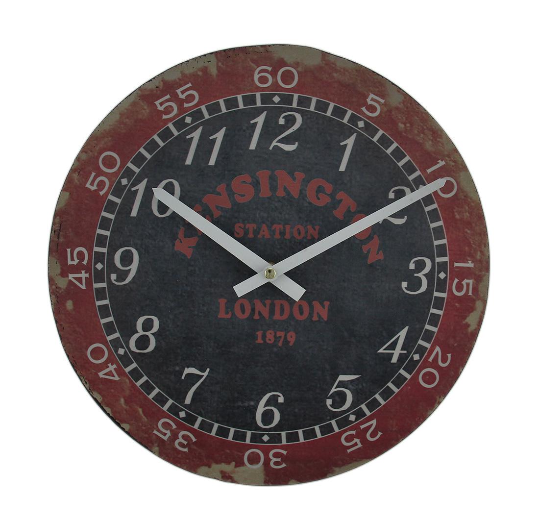 London Kensington Station Distressed Vintage Finish Round Wooden