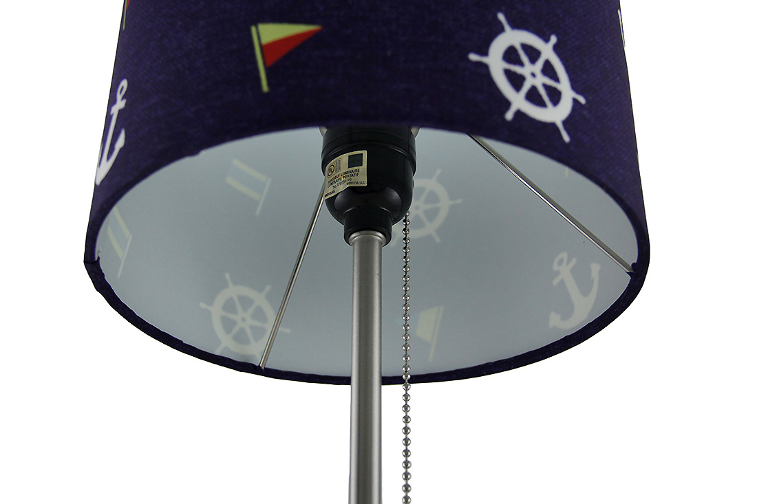 nautical stainless steel accent lamp w navy drum shade ebay. Black Bedroom Furniture Sets. Home Design Ideas