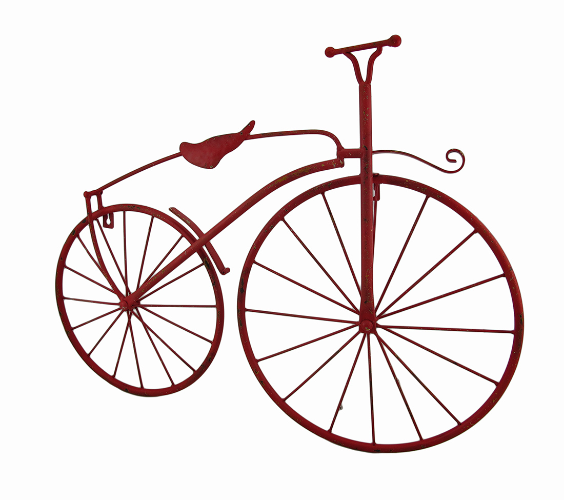 Red metal vintage finish high wheel bicycle wall hanging for Bicycle wheel wall art