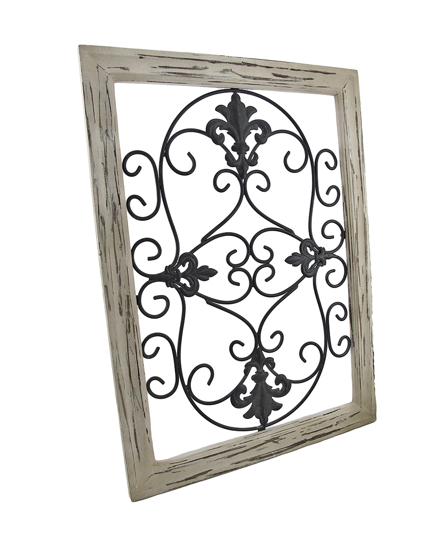Wrought Iron Wall Decor With Wood Frame : Distressed wooden tan frame wrought iron fleur de lis wall