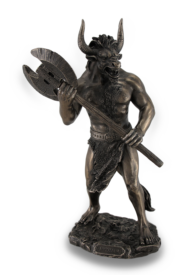 Bronze Finished Minotaur With Labrys Statue Greek