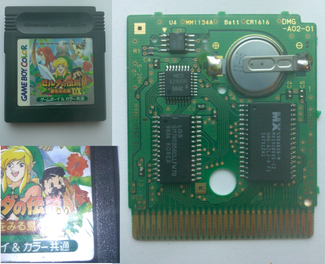 LADX JP v1.0 cart with microchip shown