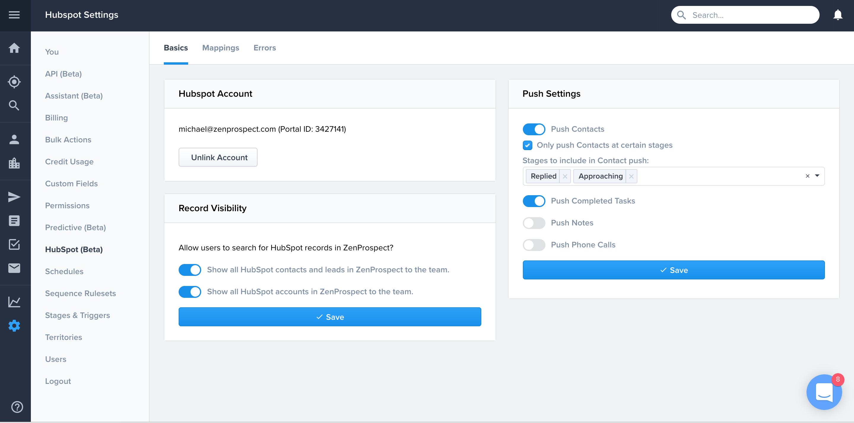 HubSpot Integrations settings