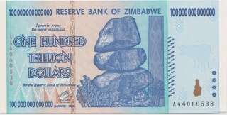 Image of Zimbabwe 100 Trillion Dollar Currency - Front
