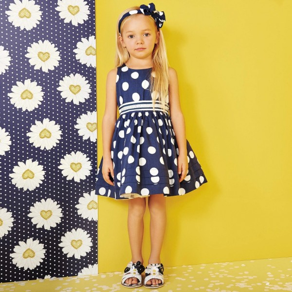 MONNALISA-Navy-Blue-Spotted-Dress-Diamanté-Belt-e1454527783948