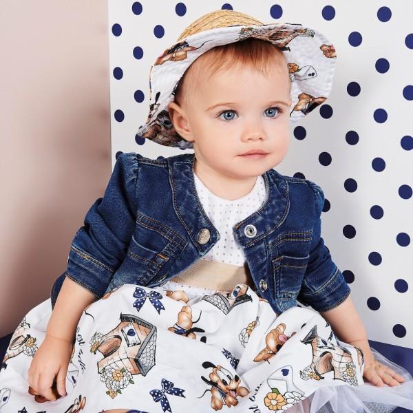 MONNALISA-BEBÉ-Baby-Girls-White-Dress-with-Pluto-Print-e1454529938797