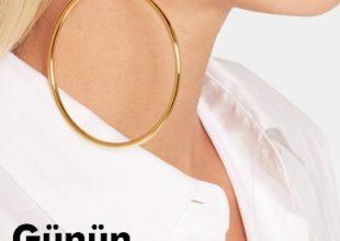 BALENCİAGA qızılı sancaq formalı sırğa
