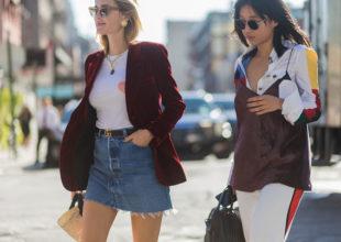 NEW YORK, NY - SEPTEMBER 13:  Pernille Teisbaek wearing a velvet blazer, Gucci belt, denim mini skirt and Margaret Zhang outside Tory Burch on September 13, 2016 in New York City. (Photo by Christian Vierig/Getty Images)