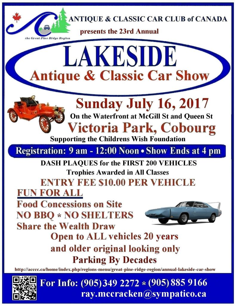 Antique And Classic Car Show In Cobourg WIll Be Supporting The Make A Wish Foundation featured image