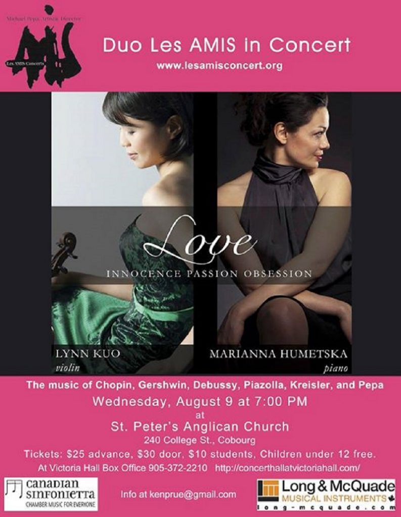 Love Innocence Passion And Obsession…Duo Les Amis In Concert August 9th In Cobourg featured image