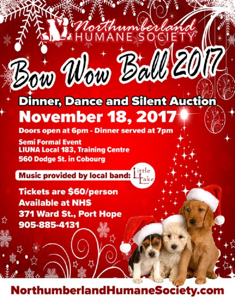 Mark Your Calendars For The Northumberland Humane Society Bow Wow Ball Saturday November 18th featured image