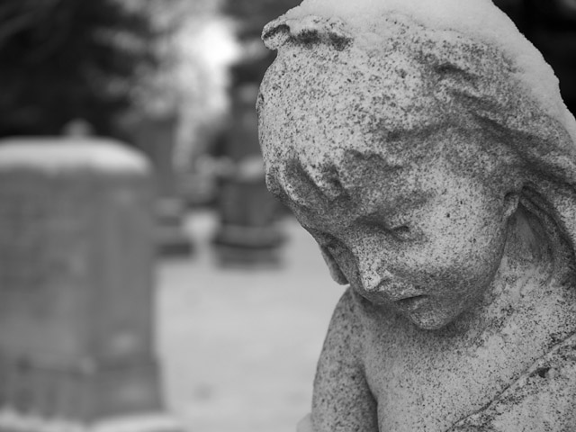 black and white angel cemetary
