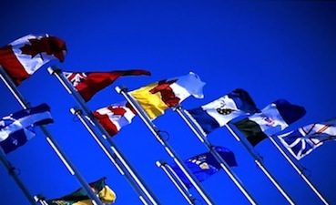 Provincial flags bright blue sky