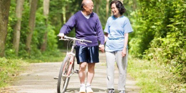 A couple senior asian talking while walking and exercising at a park