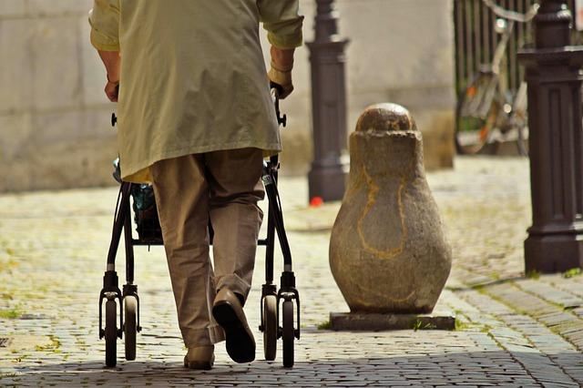 senior using a walker alone