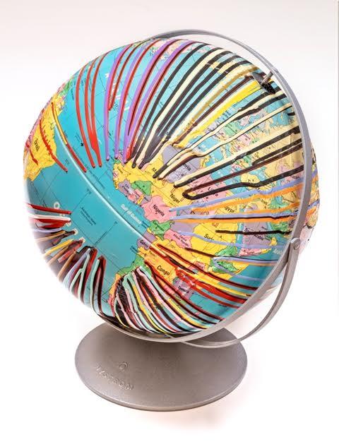Douglas Coupland, Pacific Trash Gyre No. 17, manufactured globe, steel, paint, 2016, live auction