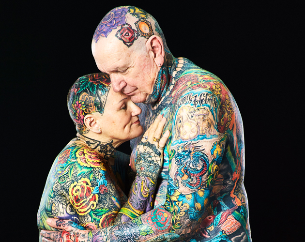 Old person with tattoos