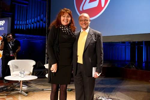 ZoomerLife Conference 2011 - Presenter and Comedienne Mary Walsh with ZoomerMedia Limited Founder Moses Znaimer