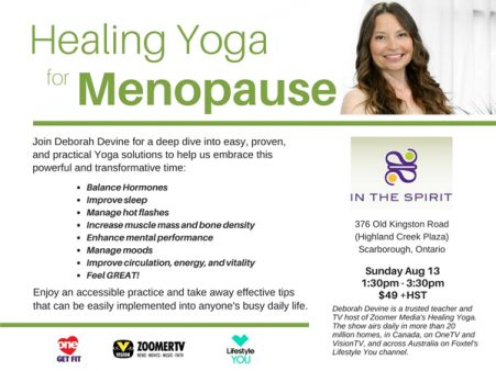 Healing Yoga for Menopause Workshop - Scarborough, ON - Aug. 13, 2017