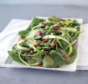 Spinach salad with pomegranate.