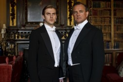 Dan Stevens as Matthew Crawley and Hugh Bonneville as Robert Crawley, Earl of Grantham in Downton Abbey