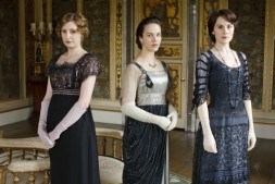 Laura Carmichael as Lady Edith Crawley, Jessica Brown Findlay as Lady Sybil Crawley and Michelle Dockery as Lady Mary Crawley in Downton Abbey