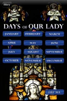 iMary Mobile App Calendar Page