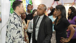 "EastEnders: Arthur ""Fatboy"" Chubb (Ricky Norwood), Lucas Johnson (Don Gilet) and Denise Johnson (Diane Parish)"