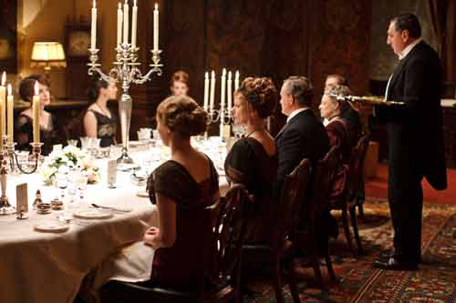 Downton Abbey S2: Carson (Jim Carter) serves the Crawleys dinner