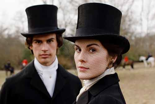Downton Abbey S1E3: Kamal Pamuk and Lady Mary prepare to ride out on the fox hunt