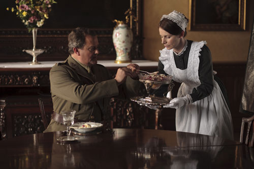 Downton Abbey S2E6: New Maid Jane Moorsum (Claire Calbraith) gets to know Lord Grantham