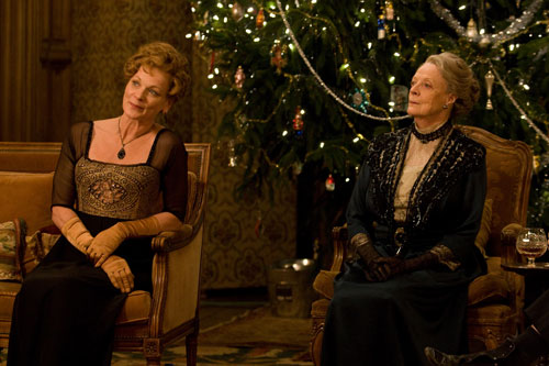 Downton Abbey S2E7: Lady Rosamund and the Dowager Countess enjoy playing charades after Christmas dinner