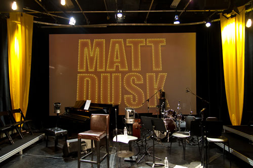 The stage is set for the live taping of Matt Dusk - Live at the ZoomerPlex