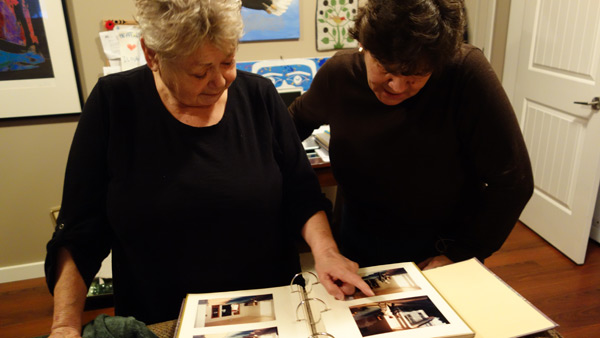 Ecstatic: Gail Sparrow and cousin look at pictures