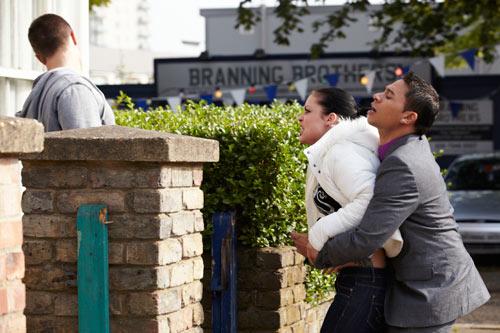 "EastEnders Weekender (Oct. 28 - Nov. 1, 2013) Tyler Moon (TONY DISCIPLINE), Whitney Dean (SHONA MCGARTY), Arthur ""Fat Boy"" Chubb (Ricky Norwood) Photo: Adam Pensotti © BBC 2011"