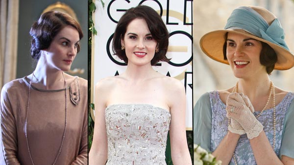 Downton Abbey's Michelle Dockery Photos: (L and R) (c) ITV/NBC Universal/Carnival Films (Center) Michelle at 71st Golden Globes (c) FAME Pictures/Keystone Press