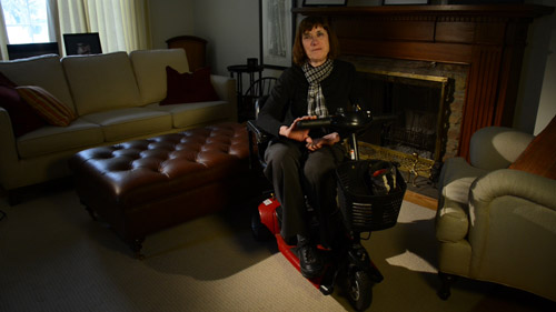 The Trouble With Dying: Linda Jarrett at home on her scooter