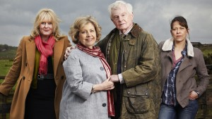 Last Tango in Halifax S1: (L to R) Caroline (SARAH LANCASHIRE), Celia (ANNE REID), Alan (DEREK JACOBI), Gillian (NICOLA WALKER)