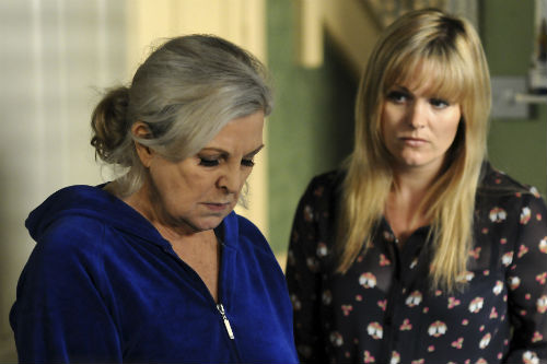 EastEnders Weekender June 20: Cora Cross (ANN MITCHELL), Tanya Cross (JO JOYNER) Photo: Adam Pensotti ©BBC 2012