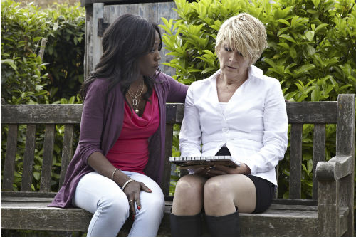 EastEnders Weekender July 4: Denise Fox (DIANE PARISH), Shirley Carter (LINDA HENRY) Photo: Matt Frost ©BBC 2012
