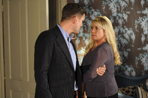 EastEnders Weekender July 4: Jack Branning (SCOTT MASLEN), Sharon Rickman (LETITIA DEAN) Photo: Kieron McCarron ©BBC 2012