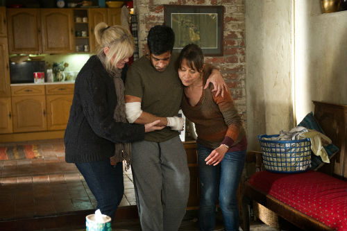 Last Tango Look Back S1E4: Caroline (SARAH LANCASHIRE), Paul (SACHA DHAWAN), Gillian (NICOLA WALKER) Photo: Vishal Sharma © Antony & Cleopatra Series Ltd. 2012